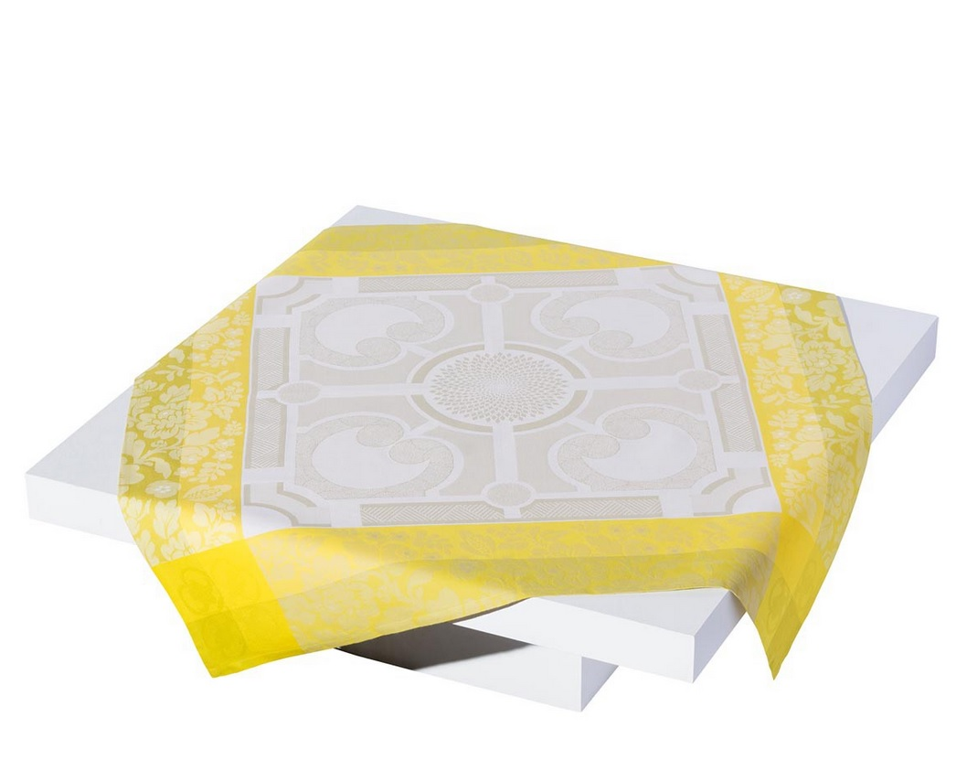 Jacquard francais tablecloth jardin royal sand cotton ebay for Jardin francais jewelry